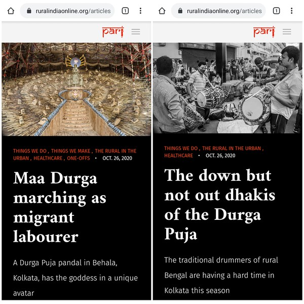 "Maa Durga marching as migrant worker and The down but not out Dhakis of the Durga Puja are two stories ( One off!) featured in #PARI yesterday. The first story is about why Maa Durga appears for the first time ever, as a migrant labourer and second story is about Bengal Dhakis - how lockdown and pandemic has devastated their income.<br /> <br /> 1.Maa Durga marching as migrant worker<br /> <br /> <a href=""https://ruralindiaonline.org/.../maa-durga-marching-as.../"">https://ruralindiaonline.org/.../maa-durga-marching-as.../</a><br /> <br /> 2.The down but not out Dhakis of the Durga Puja<br /> <br /> <a href=""https://ruralindiaonline.org/.../the-down-but-not-out.../"">https://ruralindiaonline.org/.../the-down-but-not-out.../</a>"