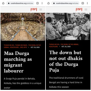 Maa Durga marching as migrant worker and The down but not out Dhakis of the Durga Puja are two stories ( One off!) featured in #PARI yesterday. The first story is about why Maa Durga appears for the first time ever, as a migrant labourer and second story is about Bengal Dhakis - how lockdown and pandemic has devastated their income.  1.Maa Durga marching as migrant worker  https://ruralindiaonline.org/.../maa-durga-marching-as.../  2.The down but not out Dhakis of the Durga Puja  https://ruralindiaonline.org/.../the-down-but-not-out.../