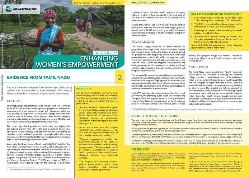 Photographs from TN featured in WB's South Asia Agriculture, and Rural Growth Impact Note series.