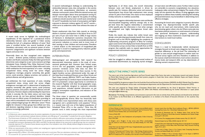 World Bank Group I South Asia Agriculture  and Rural  Growth  Impact note Series
