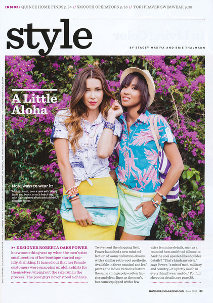 Honolulu Magazine - June 2013 Style Feature
