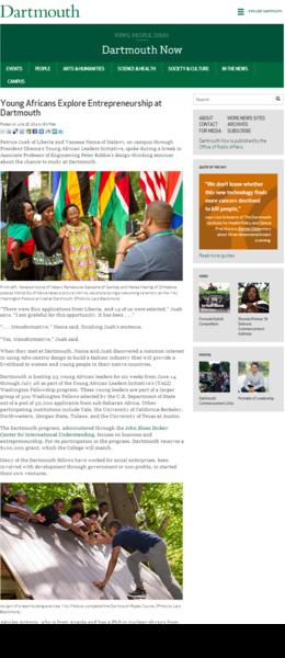 Young African Explore Entrepreneurship at Dartmouth