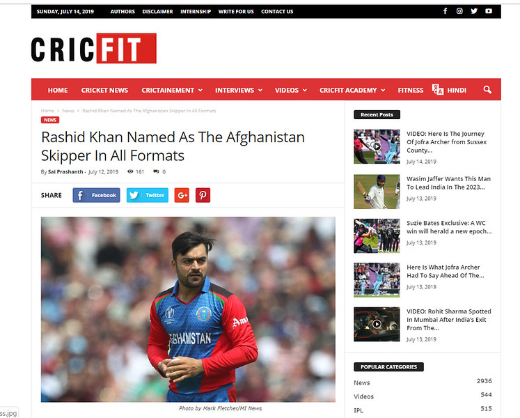 Cric Fit  (Accessed 12th July 2019)