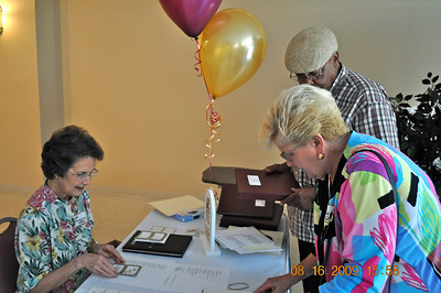 Billie Gordon Watsabaugh, Jay Johnson and behind desk, Janet Cummings Delahoy