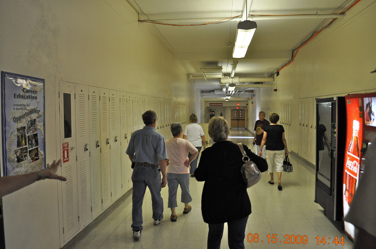 Walking thru shop area/Jr High Area.  Same ol lockers we used.
