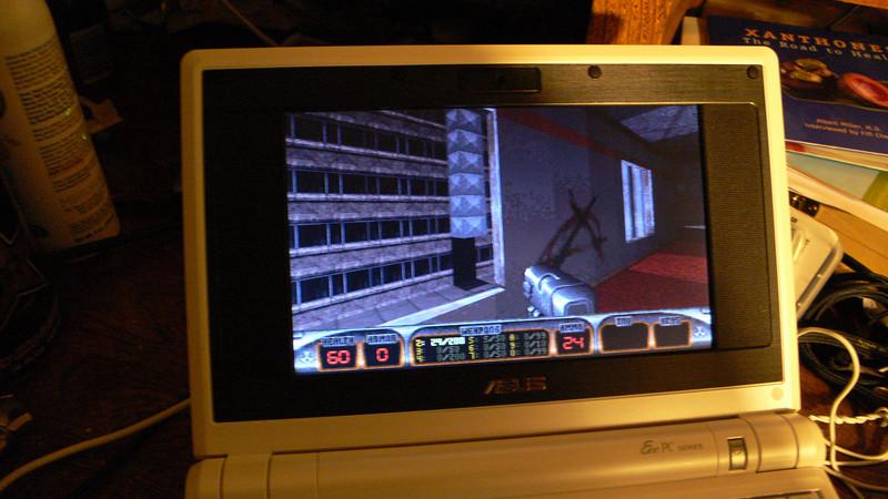 Duke Nukem<br /> Using SD Memory DOS formated<br /> No sound<br /> Set VESA 640x 480