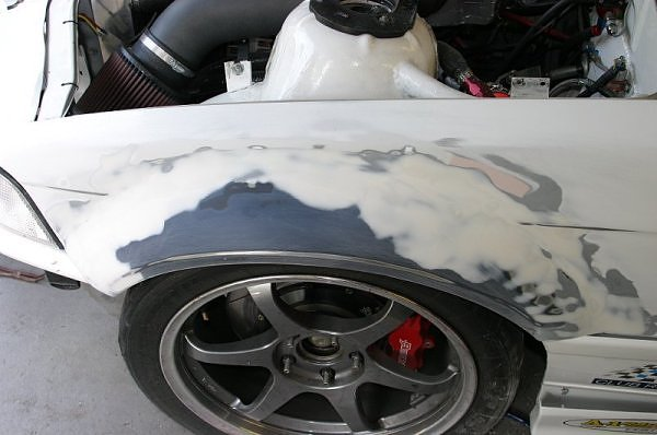 """The """"flare"""" section from an OEM E46 M3 front fender grafted to an E36. Bodyworked..."""