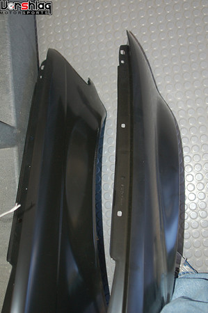 """LEFT: E46 Sedan front fender. RIGHT: E46 non-M Coupe front fender. They have the same shape and """"coverage""""."""