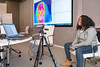 Student enjoying demonstration of infrared imaging for Techbridge Girls STEM learning experience led by Leidos employees on November 29, 2016 in the Leidos Conference Center in Reston, VA. Photos can only be used for editorial purposes.