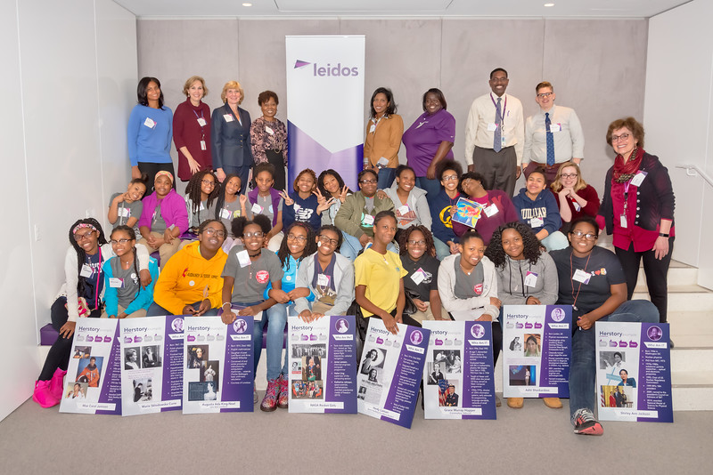 Group photo of the students, mentors and other volunteers participating in the Techbridge Girls STEM learning experience led by Leidos employees on November 29, 2016 in the Leidos Conference Center in Reston, VA. Photos can only be used for editorial purposes.