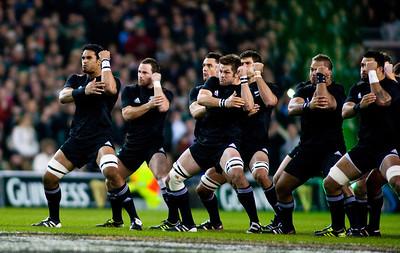 The New Zealand All Blacks doing their famous pre match haka before the International rugby test with Ireland against the New Zealand All Blacks at Aviva Stadium Dublin. November 2010