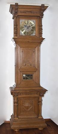 """Figure 1a - Floor Standing Regulator by Johann Salfer, Wien<br /> <br /> It's all the Kaisers fault<br /> <br /> If we go back in time to the seventeenth and eighteenth centuries, the focus for many clock makers in central Europe was to provide impressive clocks and watches for clerical and aristocratic patrons of the arts.  And, while many complex pieces, including complicated astronomical clocks, were produced, style, appearance, and extravagance were often more important than accuracy.  Most clocks were spring driven, and ran for less than 3 days. (2)<br /> <br /> It is in this environment that we see the impact of politics and the desire to increase the production of clocks having a profound impact on Viennese clock making skills.  <br /> <br /> In 1781, an insurrection occurred in the city state of Geneva.  Geneva was ruled by an alliance that included France and the states of Zurich and Berne.(3)  The majority of Geneva's population of 24,000 wanted their independence. The French and Swiss armies quickly surrounded the city and laid siege.  After prolonged negotiations, the rebellious citizens were allowed to leave with all their belongings. Some settled in Brussels and others near Lake Constance which was then part of Austria (3).<br /> <br /> Enter the Austrian Kaiser – Franz Joseph II.  . He wanted increased foreign trade and believed this could be achieved by establishing Vienna as a center for watchmaking and clockmaking.  The Kaiser recognized early on, however, that he first needed to increase the skills of the Viennese craftsmen in order to increase the quality and volume of clocks being made in Vienna. To accomplish this he drew on the skilled clock and watchmakers who had settled in the """"Geneva"""" colony in Constance. (2, 6, 8, 10)  His goal was to found watch and clock manufacturing centers in Vienna.  In 1789, the """"Kaiserlich Koniglich Privilegierte Genfer Uhrenfabrik"""" (Imperial Royal-Privileged Geneva Clock Factory) was founded.(2)  With the arrival"""