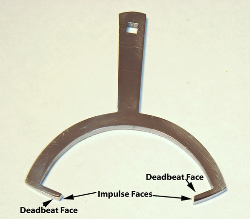 Figure 1 – Typical Viennese Single-Piece Anchor<br /> <br /> While it would be nifty to be able to remove the groove without changing the distance between the pallets on a single-piece anchor (see Figure 1 for a typical Viennese single-piece anchor), grinding and polishing pallets open the gap, which changes the degree of lock on the deadbeat pallet face (see Figure 2 to better understand where the locking (deadbeat) and the impulse pallet faces are on a typical Viennese deadbeat anchor).