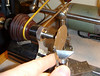 """Figure 8 - using the lathes """"T"""" rest and a hand held graver to clean up the edges"""