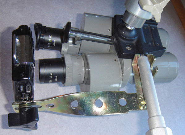 Figure 1 – Mounting a small digital camera to a microscope