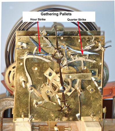 Figure 1 - Vienna Regulator Gathering Pallets<br /> <br /> Let's start by looking at a picture of the front of a typical 3 train Vienna Regulator mechanism.  The arrows point to the two gathering pallets – the one on the left for the hour-strike train, the one on the right for the quarter strike train, and the subject of this Tid Bit.