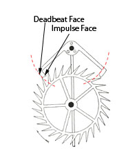 """During the extremities of the pendulum's swing, the escape wheel tooth rests against a locking, or """"deadbeat"""" face, which provides no impulse to the pendulum (eliminating recoil in the gear train). Near the bottom of the pendulum's swing the tooth slides off the locking face onto the angled """"impulse"""" face, giving the pendulum a push, before the pallet releases the tooth."""