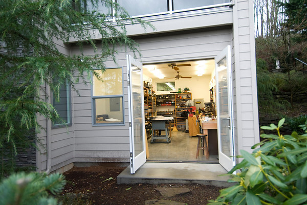 A view into the wood shop from outside.