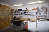 Garage work bench and some hand tools.  Sink in corner of garage is a nice touch.