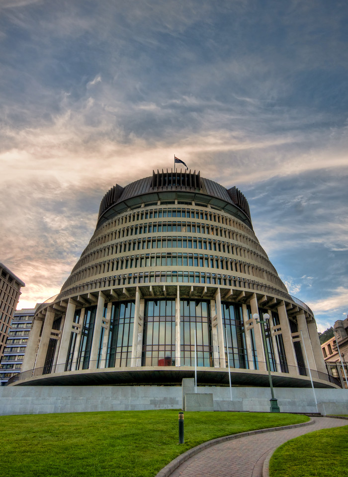 "The Beehive is the common name for the Executive Wing of the New Zealand Parliament Buildings, located at the corner of Molesworth Street and Lambton Quay, Wellington. It is so-called because of its shape is reminiscent of that of a traditional woven form of beehive known as a ""skep"". (Source http://en.wikipedia.org/wiki/Beehive_%28New_Zealand%29)"