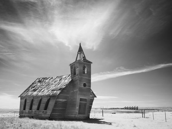 Abandoned church, Dooley, Montana