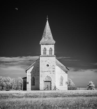 White church & moon