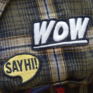 wow - embroidered on felt. say hi! - embroidered, merrowed