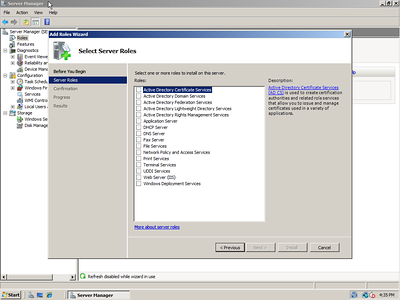 Windows Server 2008 Role Install