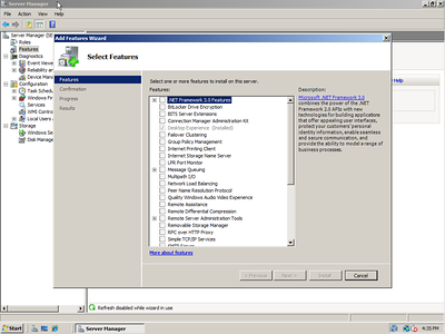 Windows Server 2008 Feature Install