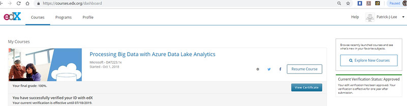 Patrick Lee Microsoft DAT223.1x Processing Big Data With Azure Data Lake Analytics Final Mark (100%) Dec 2018