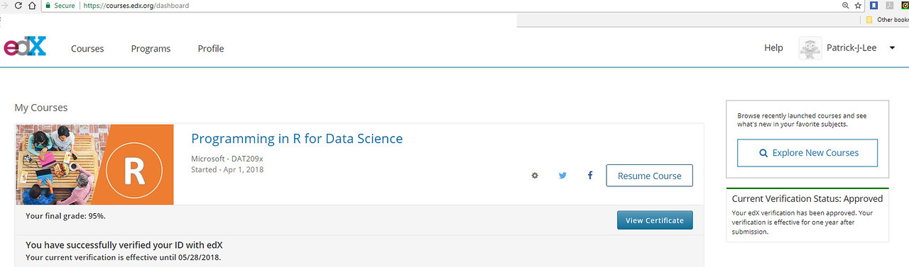 Patrick J Lee Microsoft DAT209x Course Mark: 95% (Programming in R for Data Science)