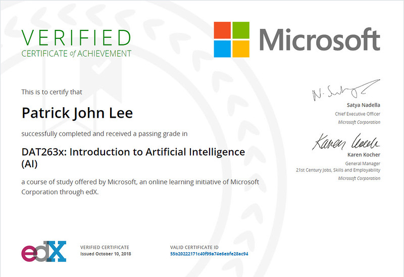Patrick Lee Microsoft DAT263x Introduction To Artificial Intelligence Certificate Oct 2018