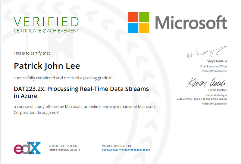 Patrick Lee Microsoft DAT223.2x Processing Real-Time Data Streams in Azure Certificate Feb 2019