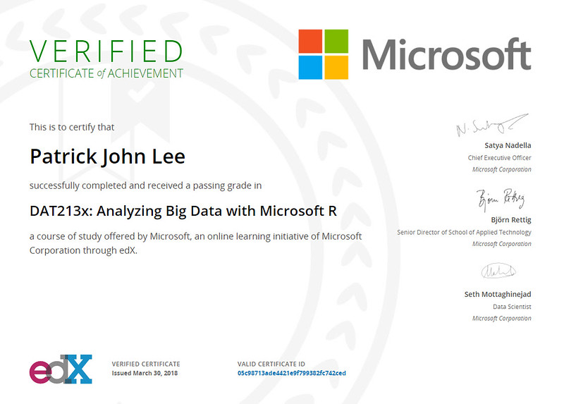 Patrick J Lee Microsoft DAT213x Course Certificate (Analyzing Big Data with Microsoft R)