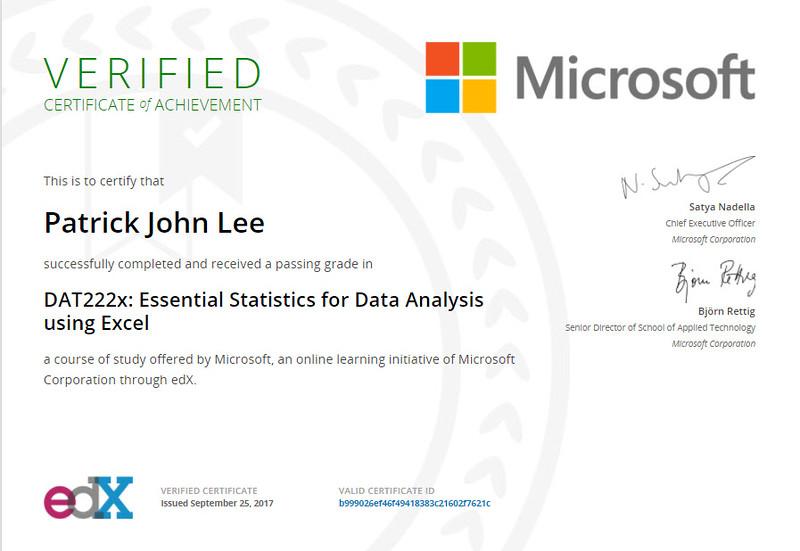 Patrick J Lee Microsoft DAT222x Course Certificate