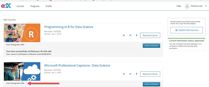 Patrick J Lee Microsoft DAT102x Course Mark: 92% (Microsoft Professional Capstone: Data Science)