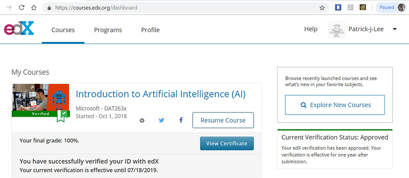 Patrick Lee Microsoft DAT263x Introduction To Artificial Intelligence Final Mark (100%) Oct 2018