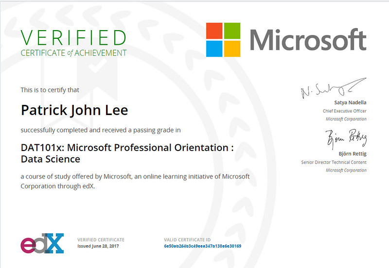 Patrick J Lee Microsoft DAT101x Course Certificate