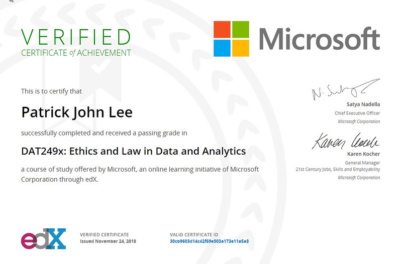 Patrick Lee Microsoft DAT249x Ethics and Law in Data and Analytics Certificate Nov 2018