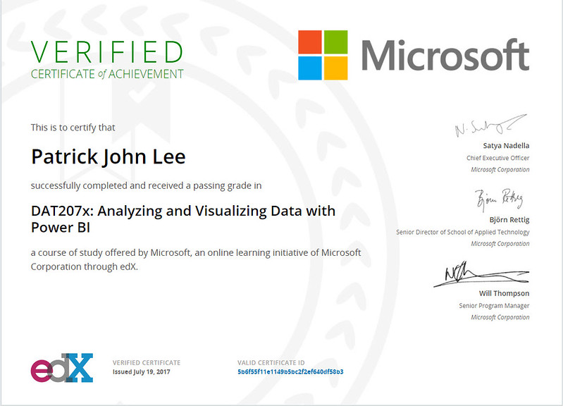 Patrick J Lee Microsoft DAT207x Course Certificate