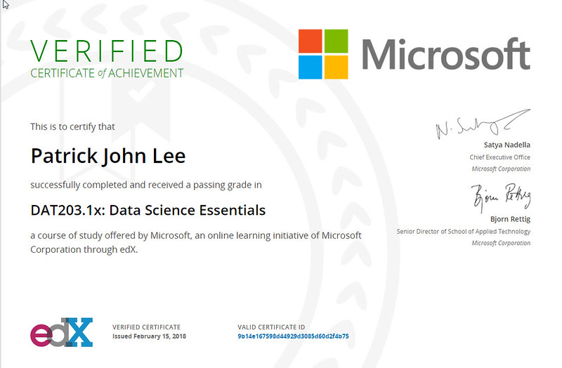 Patrick J Lee Microsoft DAT203.1x Course Certificate (Data Science Essentials)