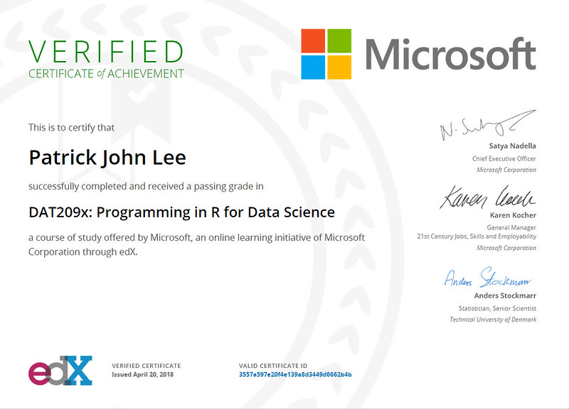 Patrick J Lee Microsoft DAT09x Course Certificate (Programming in R for Data Science)