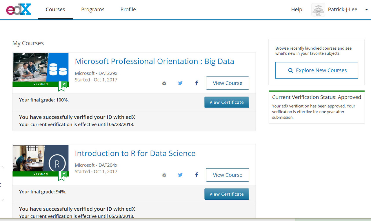 Patrick J Lee Microsoft DAT204x Course (Introduction to R for Data Science) Final Grade: 94%