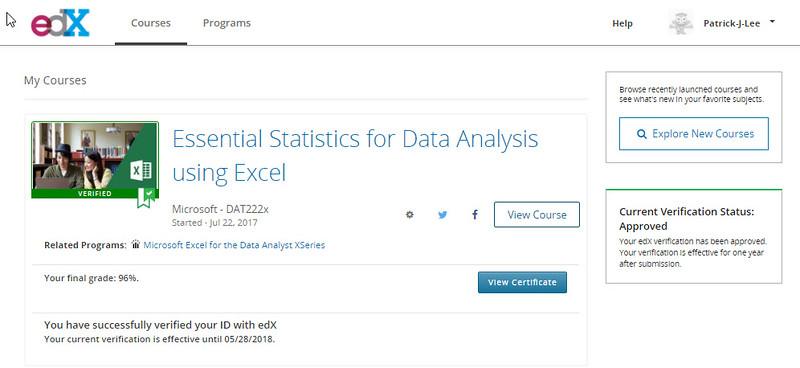 Patrick J Lee Microsoft DAT222x course mark (96%)