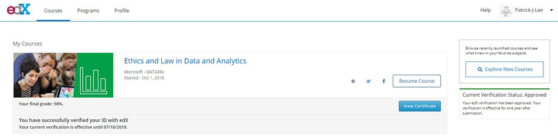 Patrick Lee Microsoft DAT249x Ethics and Law in Data and Analytics Final Mark (98%) Nov 2018