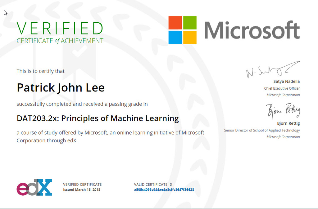 Patrick J Lee Microsoft DAT203.2x Course Certificate (Principles of Machine Learning)