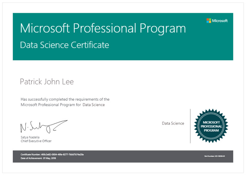 Patrick J Lee Microsoft Professional Program Data Science Certificate