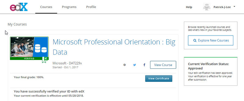 Patrick J Lee Microsoft DAT229x course mark (100%) (Orientation: Big Data)