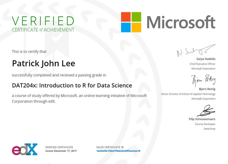 Patrick J Lee Microsoft DAT204x Course Certificate (Introduction to R for Data Science)