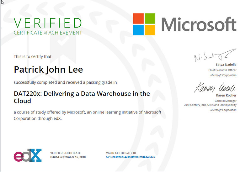 Patrick Lee Microsoft DAT220x Certificate Sep 2018 (Delivering a Data Warehouse in the Cloud)